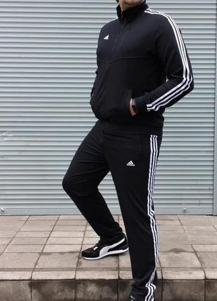 Спортивный костюм мужской adidas батал черный / спортивний кос...