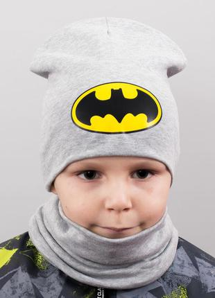 Детская шапка с хомутом batman (2 размера - до 5 лет; от 5 до ...