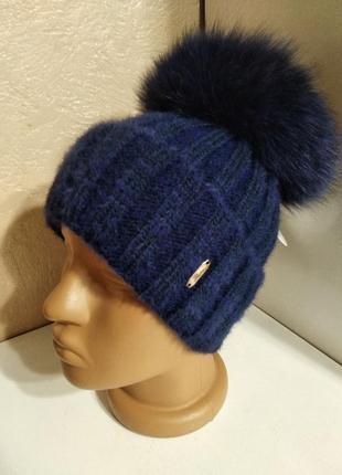 Стильная женская ангоровая шапка с натуральным мехом с помпоно...