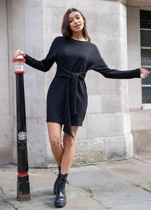 Платье свитер оверсайз с поясом с длинным рукавом