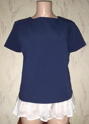 Темно синий топ блузка футболка кофточка с оборкой по низу