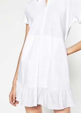 Белое платье рубашка с воланами внизу от zara