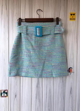 Теплая юбка трапеция голубая