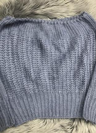 Голубой свитер, кофта , вязанный свитер