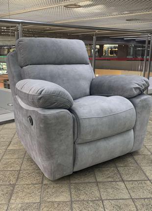 Кресло Реклайнер с электроприводом. Серый велюр. Кресло с USB