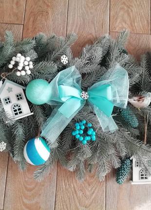 Новогодняя гирлянда литая, декор, венки, подсвечники, композиции