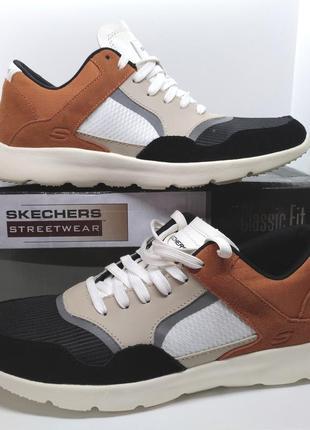 Стильные кожаные кроссовки мокасины полуботинки skechers brendon