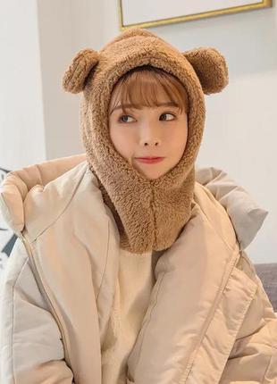 Шапка с ушами медведь мягкая плюшевая коричневая