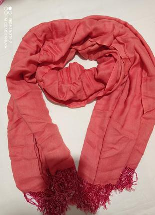 Коралловый шарф палантин с бисером