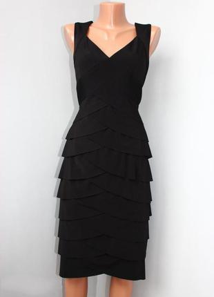Платье сарафан черное / можно как базовое /с декором оборочек-...