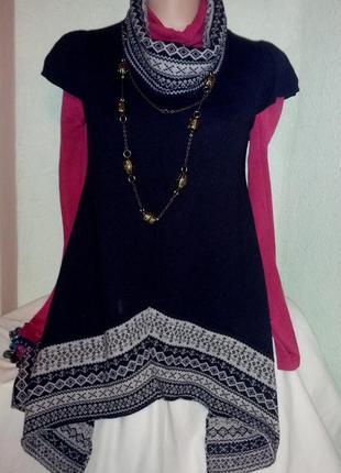 Теплое миниплатье-туника,в стиле бохо со скандинавским узором,...