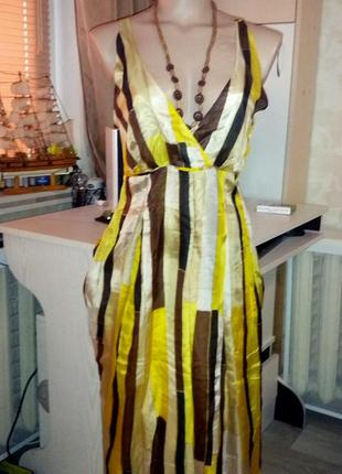 Натуральный шелк!сарафан,открытое платье,44-46разм,jake*s,пог-...