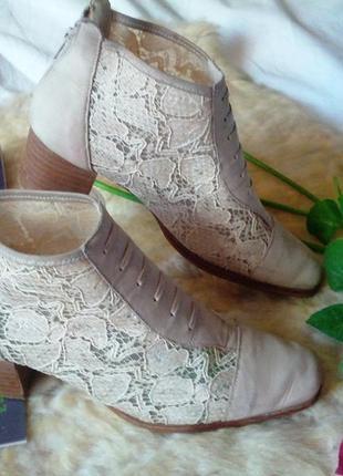 Летние кожаные ботинки с гипюровыми вставками,38разм,,стелька-...