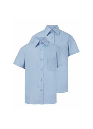 Рубашка George Plus Fit на 8-9лет на 128-135см голубая короткий р