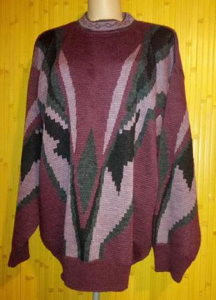 Красивый свитер,батал цвета бургунди,56-62разм.