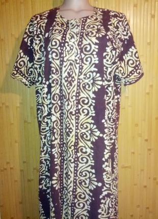 Длинное коттоновое платье а-силуэта,56-58разм.,индия.