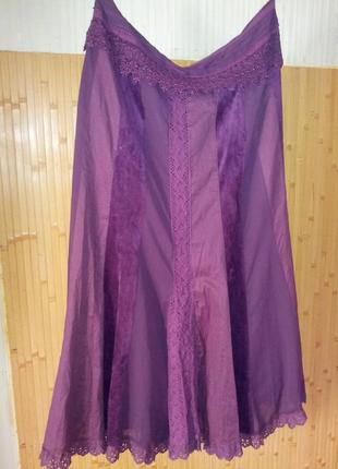 """Нарядная  комбинированная юбка- """"годе"""",цвет-бургунди,(56-58раз..."""