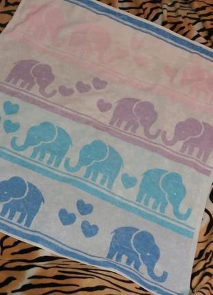 """Качественное махровое полотенце,""""слоники"""" от floringo,88*92см.."""