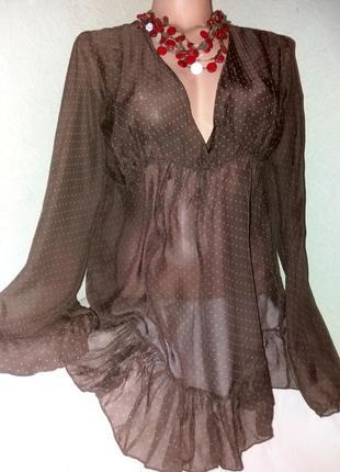 !00% шелк!блуза,туника в горошек, цвета мокко,46-48разм.,италия.