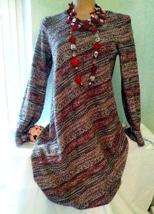 Платье-трапеция,букле,полосы косые,46-48разм,пог-48-56см.,george.