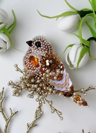 Брошь розовое золото ручной работы птица, бижутерия, брошь с п...