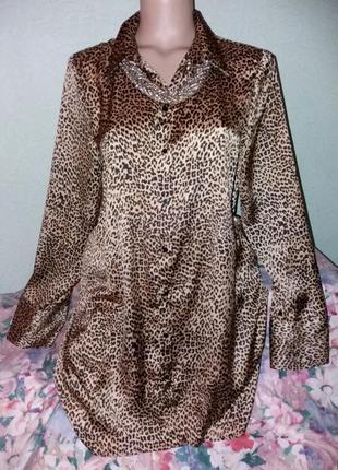 Новая шелковистая блуза с леопардовым принтом,а-силуэт,48-50ра...