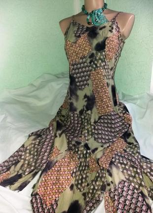 Легкое ассиметричное натуральное платье-сарафан,44-48разм..