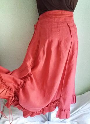 Красивая и оригинальная льняная юбка ,48-50разм., в стиле бохо.