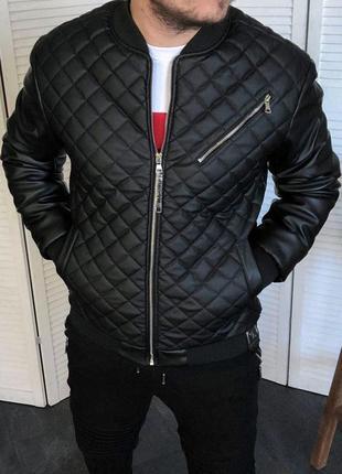 Бомбер мужской insydde черный / кожаная куртка чоловіча ветров...