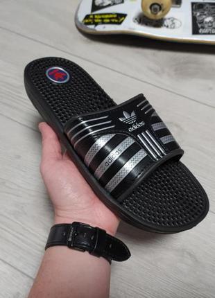 Мужские шлепанцы adidas черные (массажные)