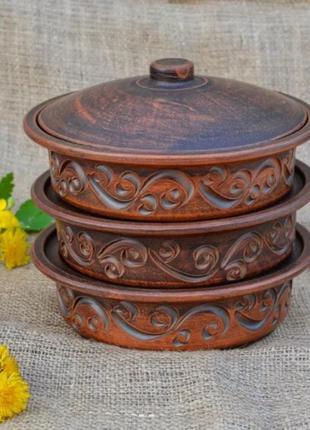 Духовой набор глиняный для запекания посуда глиняная жаровня к...
