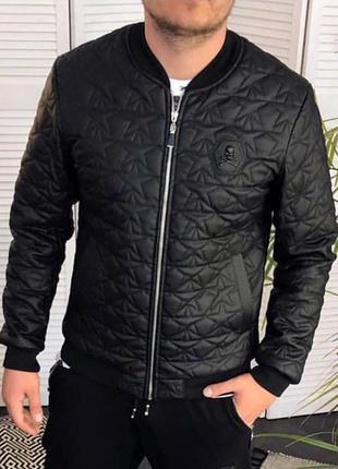 Бомбер мужской philipp plein стеганный черный / кожаная куртка...