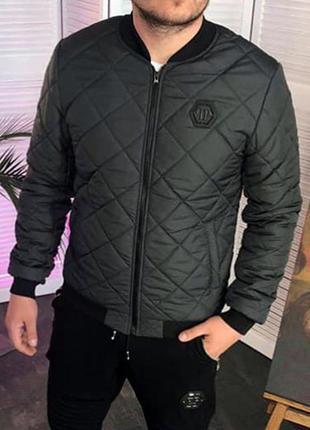 Бомбер мужской philipp plein стеганный темно серый / куртка чо...