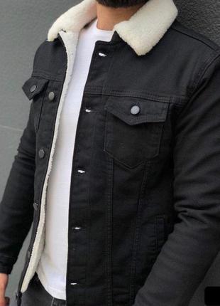Джинсовка мужская на овчине черная / джинсовый пиджак чоловіча...