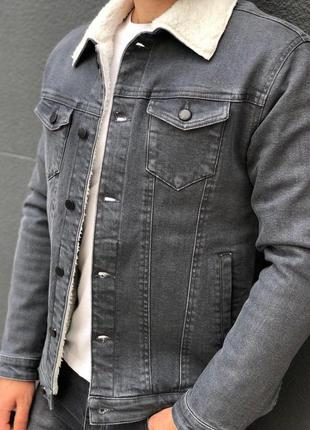 Джинсовка мужская на овчине серая / джинсовый пиджак чоловіча ...