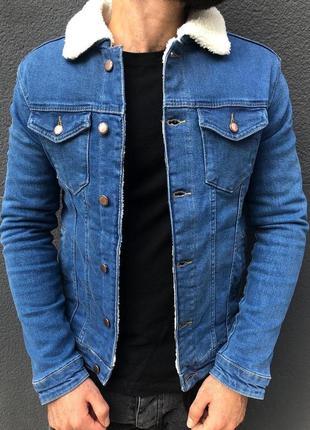 Джинсовка мужская на овчине синяя / джинсовый пиджак чоловіча ...