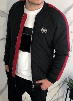 Бомбер мужской philipp plein стеганный черный / куртка чоловіч...