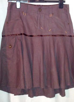 Лен,италия.!практичная летняя юбка. клеш от линии бедер,46-50р...