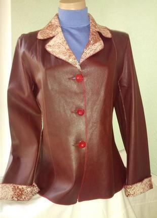 Очень классная новая двухсторонняя кожаная  куртка-жакет,пог-4...