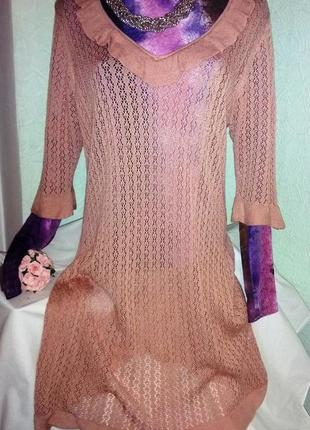 Ажурное нежное натуральное нюдовое платье-туника,46-54разм.mar...