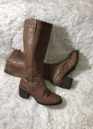 Кожаные сапоги на каблуке без замка 39 26cm