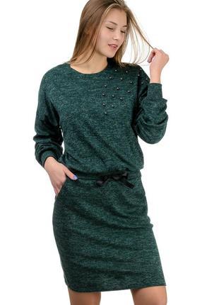 Теплое женское,нарядное,повседневное платье,бутылочного цвета ...