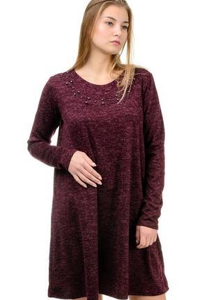 Бордовое,теплое женское,свободного кроя платье.