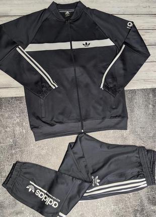 Мужской спортивный костюм adidas серый с полосками, гладкая ткань