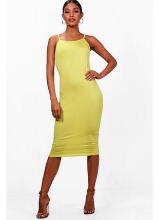 Неоновое платье миди