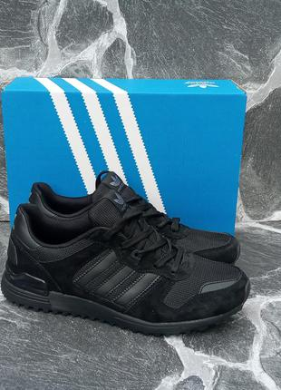 Мужские кроссовки adidas zx 750 черные, весенние, замшевые