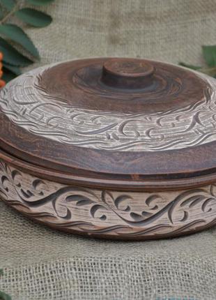 Сковорода из красной глины глиняная посуда жаровня кастрюля по...