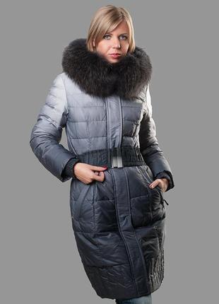 Женский пуховик эксклюзивный ,пальто с натуральной опушкой,зимний