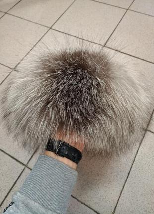Кожаная женская шапка с чернобуркой
