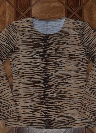 Трикотажная кофта с длинным рукавом и вырезом в тигровый принт